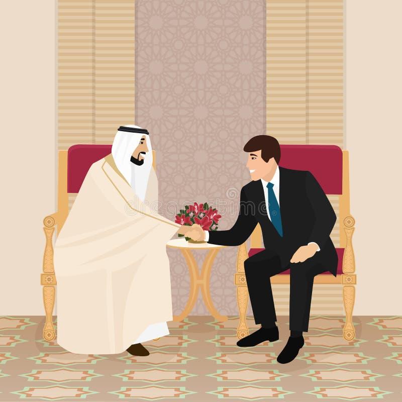 Möte av arabiska och europeiska affärsmän eller politiker stock illustrationer