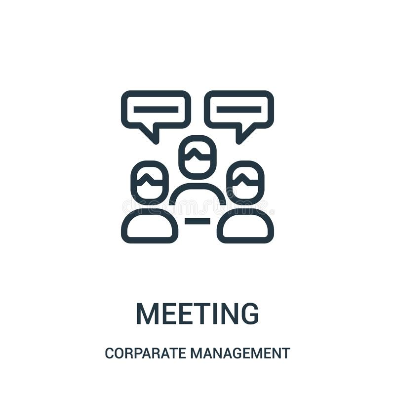 möte av symbolsvektorn från samling för företags ledning Tunn linje illustration för vektor för möteöversiktssymbol r stock illustrationer