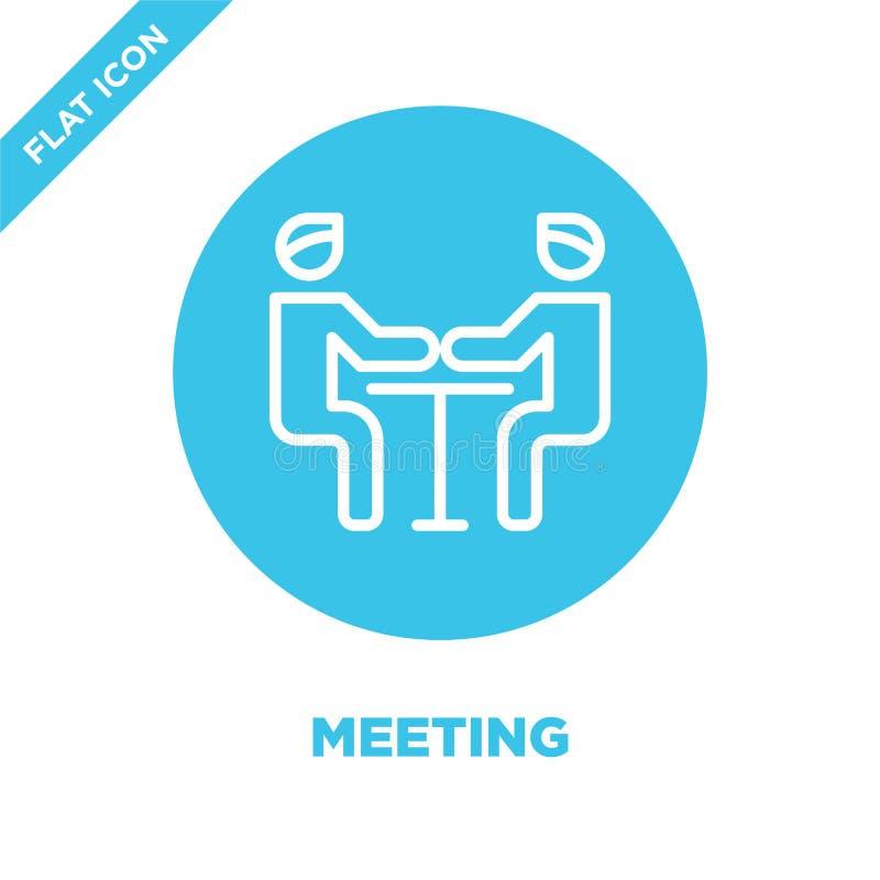 möte av symbolsvektorn Tunn linje illustration för vektor för möteöversiktssymbol möte av symbolet för bruk på rengöringsduk och  stock illustrationer
