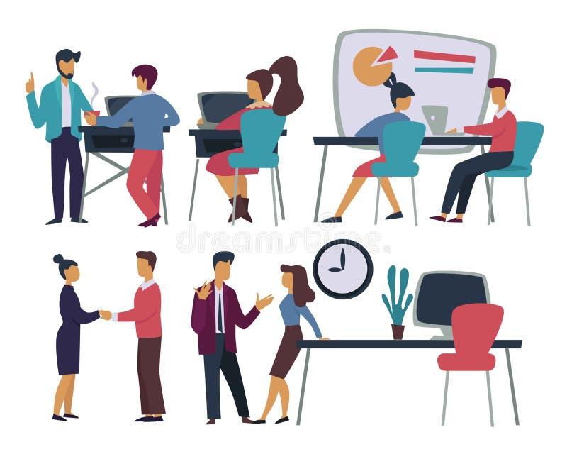 Möte för affär för kontorsarbetare och handlakonferens och diagram stock illustrationer
