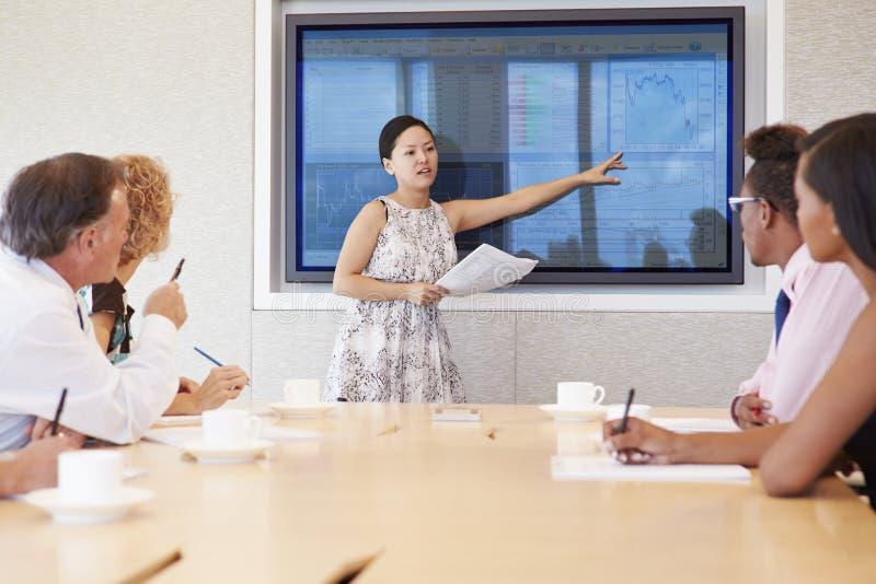 Möte för affärskvinnaBy Screen Addressing styrelse arkivfoton