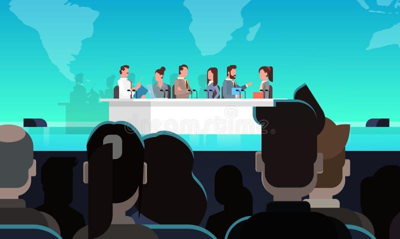 Möte för begrepp för intervju för offentlig debatt för affärskonferens officiellt framme av stora åhörare royaltyfri illustrationer
