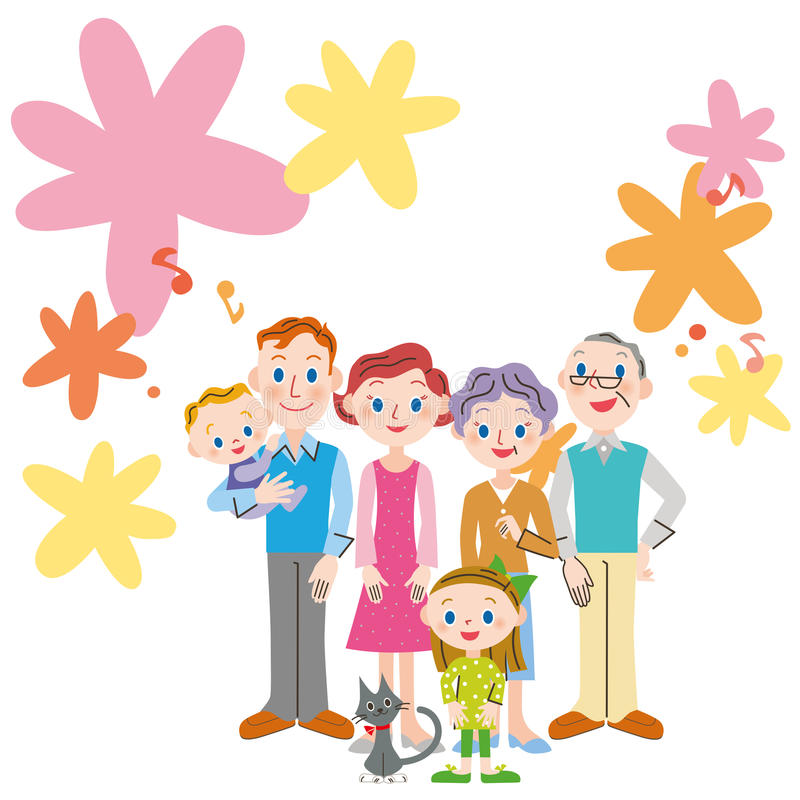 Möte för familj för blom- design för musikaliskt beteckningssystem royaltyfri illustrationer