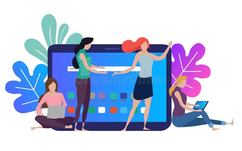Möte för man för affärskvinna som kvinnligt har diskussion Startup företag folk som fungerar tillsammans Modern färgrik lägenhet stock illustrationer