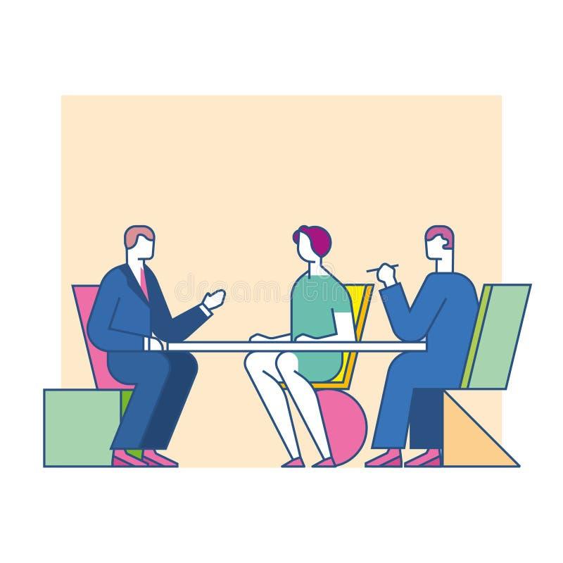 Möte förhandlar på tabellen vektor illustrationer
