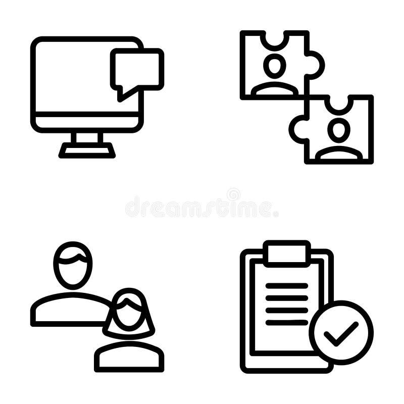 Möte fast symbolsuppsättning för arbetsplats royaltyfri illustrationer