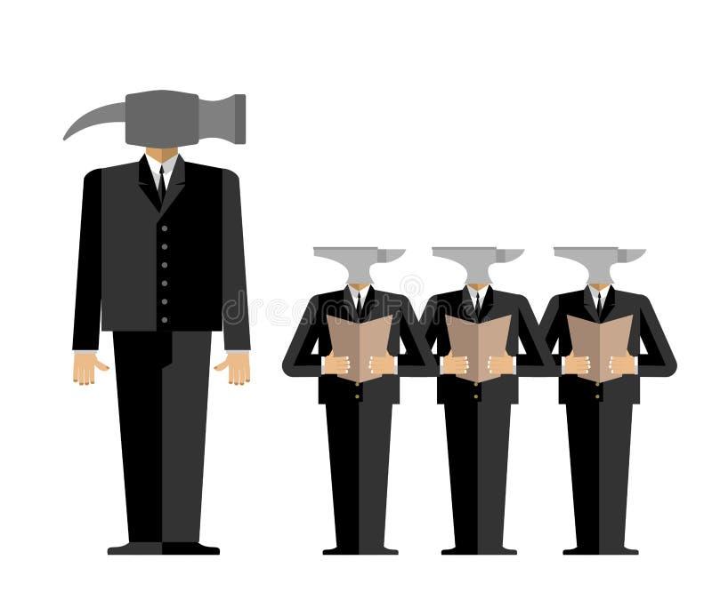 Möte i regeringsställning Framstickande-hammaren ger vägledning till underordnader a royaltyfri illustrationer