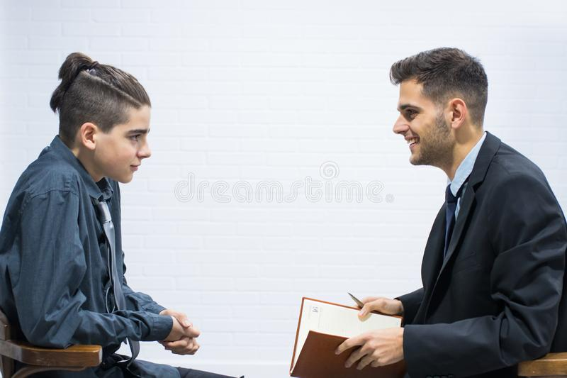 Möte, intervju eller konsultation av arbete royaltyfri bild