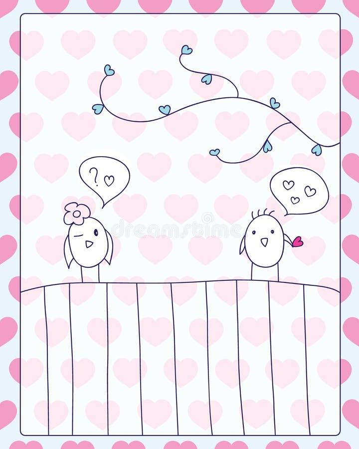 Möte- och förälskelsekort vektor illustrationer