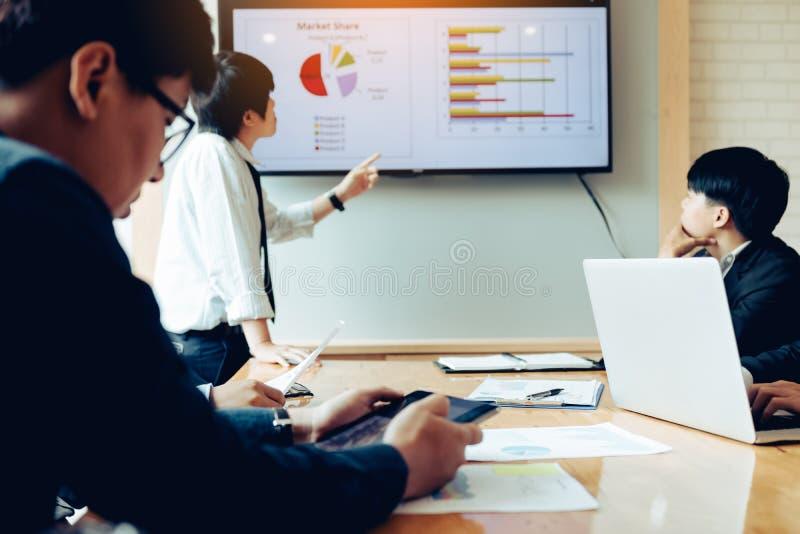 Möte och presentation för affärsfolk i en styrelse tillsammans arkivbild