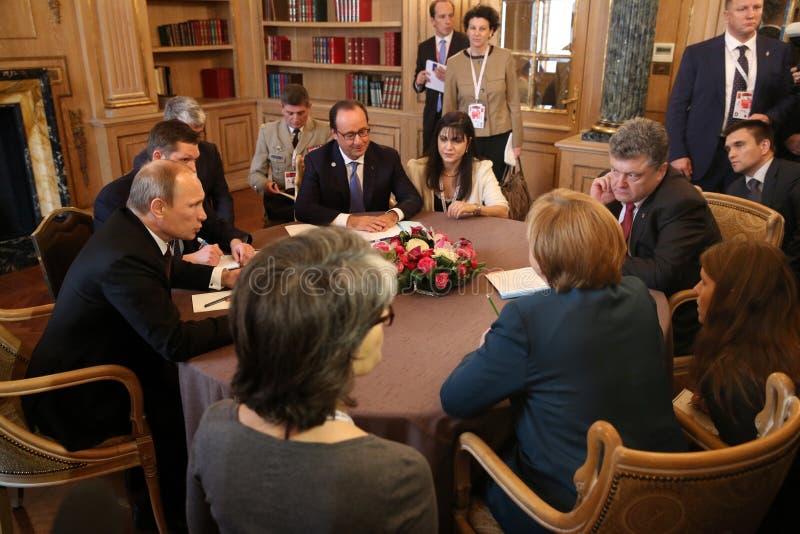 Möte på ASEM-toppmötet av europeiska och asiatiska ledare arkivbild