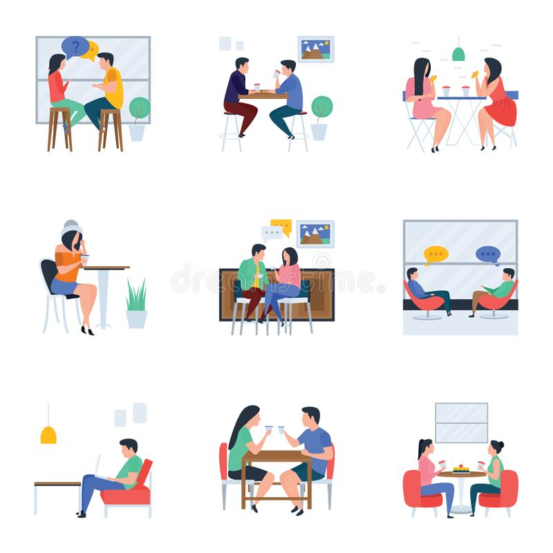 Möten och plana illustrationer för uppfriskning packar stock illustrationer
