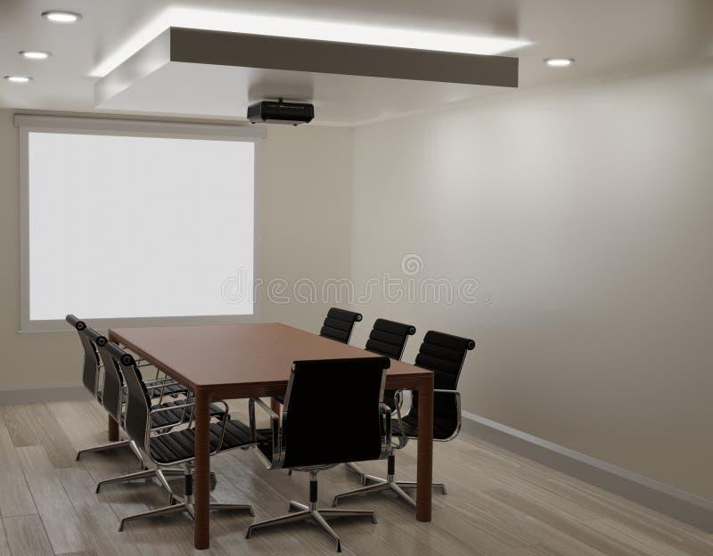 Mötesrum med den vita väggen, trägolv, projektormaskin royaltyfri illustrationer