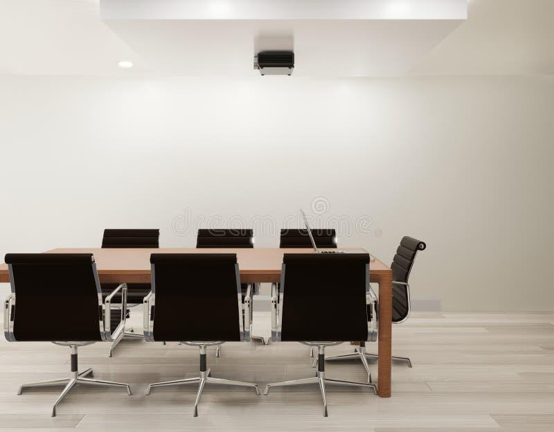 Mötesrum med den vita väggen, trägolvkopieringsutrymme stock illustrationer