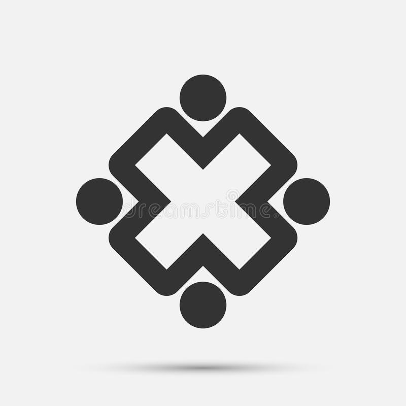 Mötesrumfolklogo grupp av fyra personer i cirkel vektor illustrationer