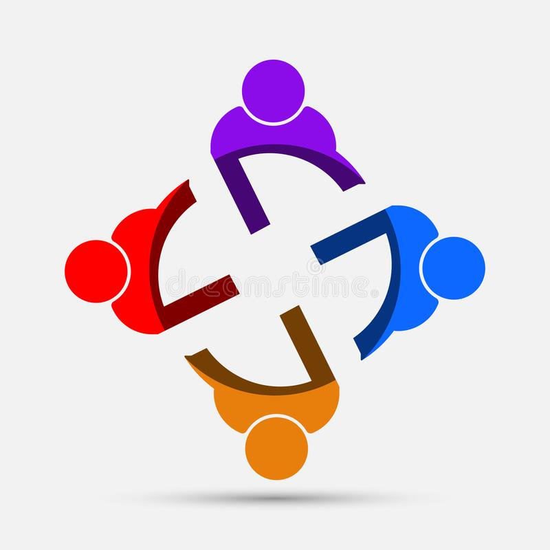 Mötesrumfolklogo grupp av fyra personer i cirkel royaltyfri illustrationer
