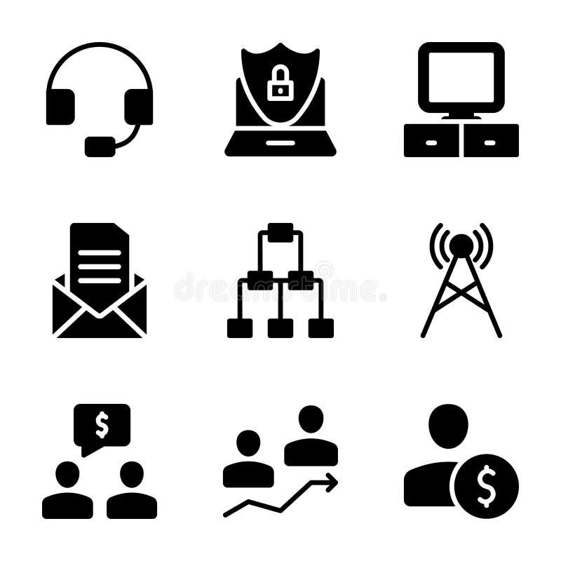 Mötet arbetsplatsen, fasta symboler för affärskommunikation packar vektor illustrationer