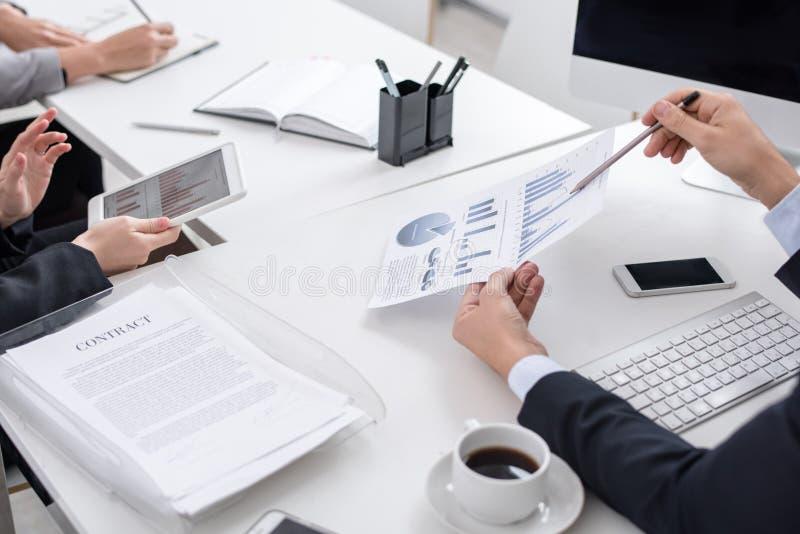 Mötet av affärsanalytiker stänger sig upp royaltyfria bilder