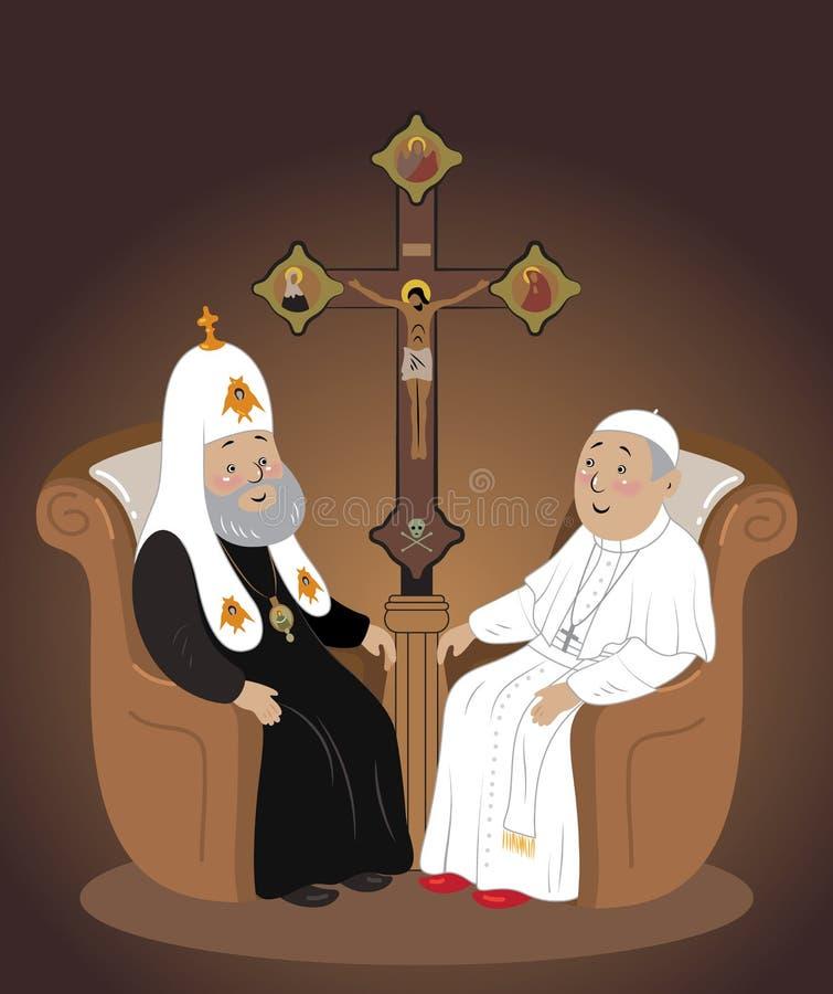 Mötet av påven och patriarken av Moskva i Kuba vektor illustrationer
