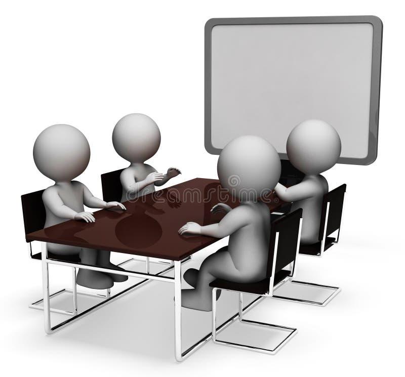 Mötetecken betyder tolkningen för den plana skärmen och för enheten 3d stock illustrationer