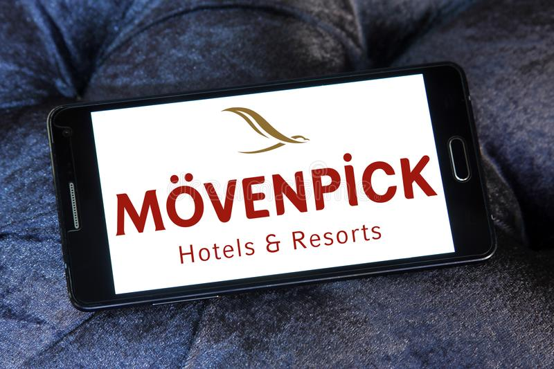 Mövenpick Hotels and Resorts logo. Logo of Mövenpick Hotels & Resorts on samsung mobile. Mövenpick is a hotel management company headquartered in Baar stock photography