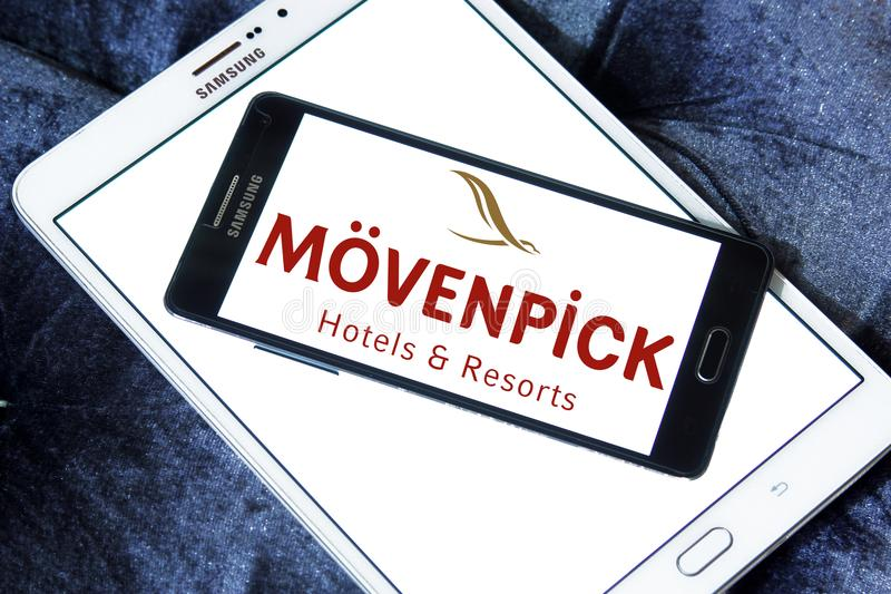 Mövenpick Hotels and Resorts logo. Logo of Mövenpick Hotels & Resorts on samsung mobile. Mövenpick is a hotel management company headquartered in Baar royalty free stock image