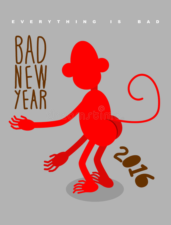 Mún Año Nuevo Todo es malo Red Monkey retrocede Christm libre illustration