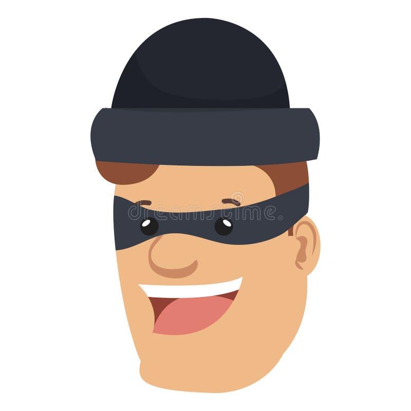 Mún carácter principal del avatar del ladrón ilustración del vector