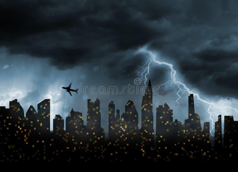 Mún clima tempestuoso en ciudad stock de ilustración