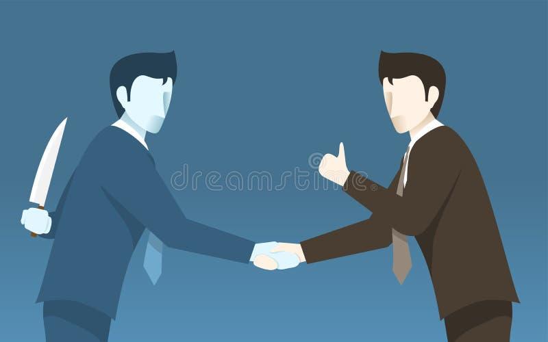 Mún hombre de negocios Betray al otro, idea del concepto de malos hombres de negocios stock de ilustración