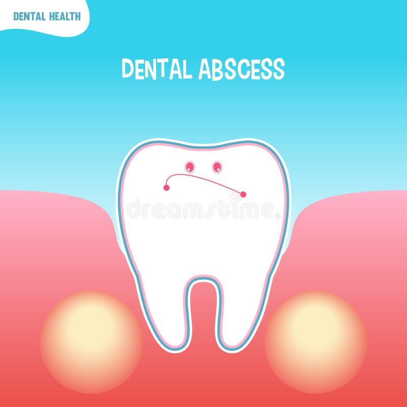 Mún icono del diente de la historieta con absceso dental ilustración del vector