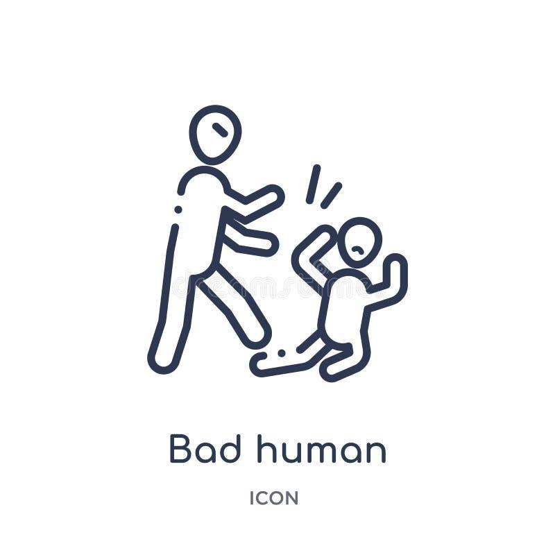 Mún icono humano linear de la colección del esquema de las sensaciones Línea fina mún vector humano aislado en el fondo blanco mú ilustración del vector