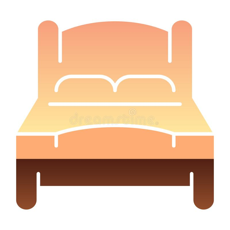 Mún icono plano Iconos del color de la cama matrimonial en estilo plano de moda Diseño del estilo de la pendiente del sitio doble stock de ilustración