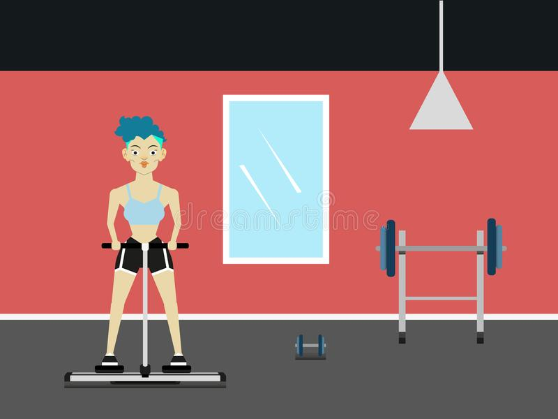 Músculos de trabajo de la mujer joven atractiva hermosa de la aptitud en la máquina en el gimnasio libre illustration