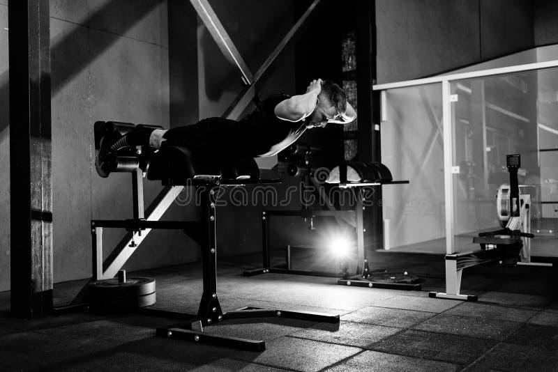 Músculos traseiros do treinamento do homem novo Exerc?cio muscular do atleta Retrato completo do comprimento de corpo foto de stock