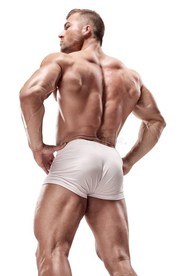 Músculos traseros de presentación modelo de la aptitud atlética fuerte del hombre, tríceps, foto de archivo libre de regalías