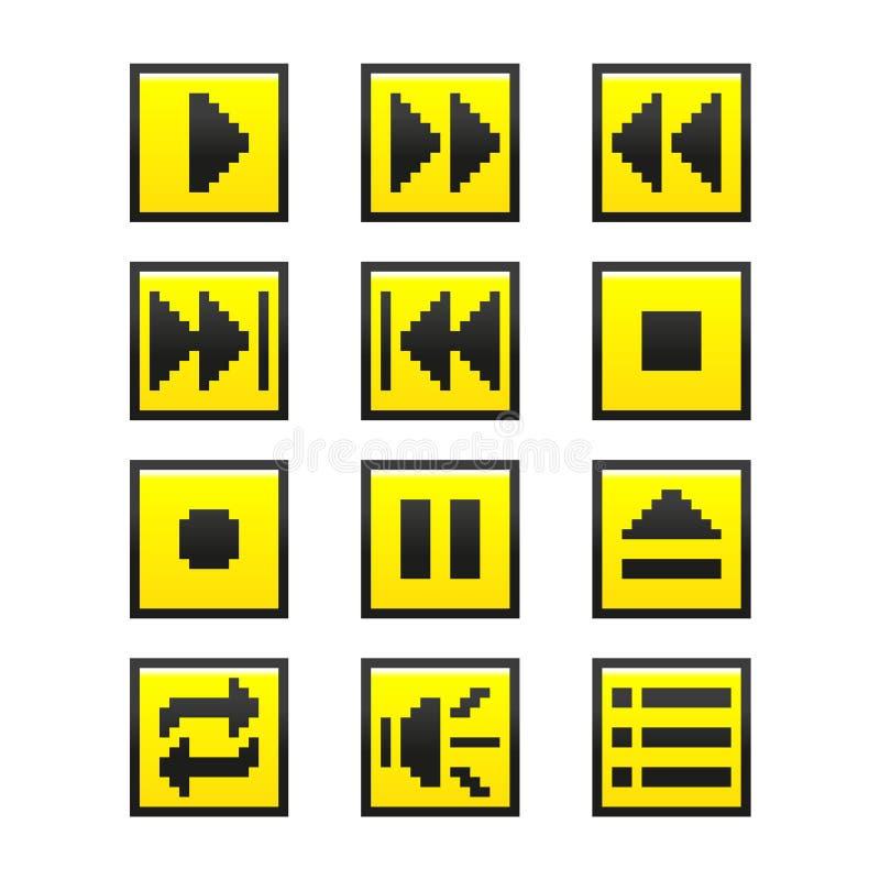 A música abotoa-se (o estilo do jogo do pixel) imagem de stock royalty free