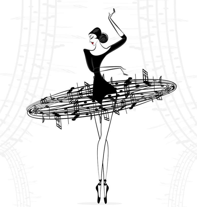 Música abstracta de la señora del ballet ilustración del vector