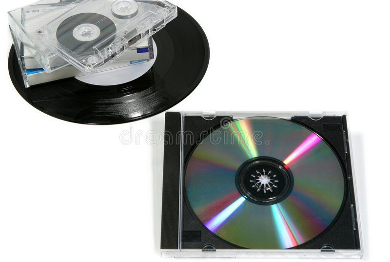 Música analogica contra Digitaces imagenes de archivo