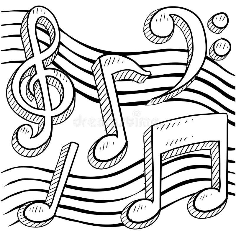 A música anota o esboço ilustração royalty free