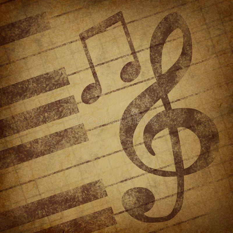 A música anota o vintage do grunge do símbolo ilustração royalty free