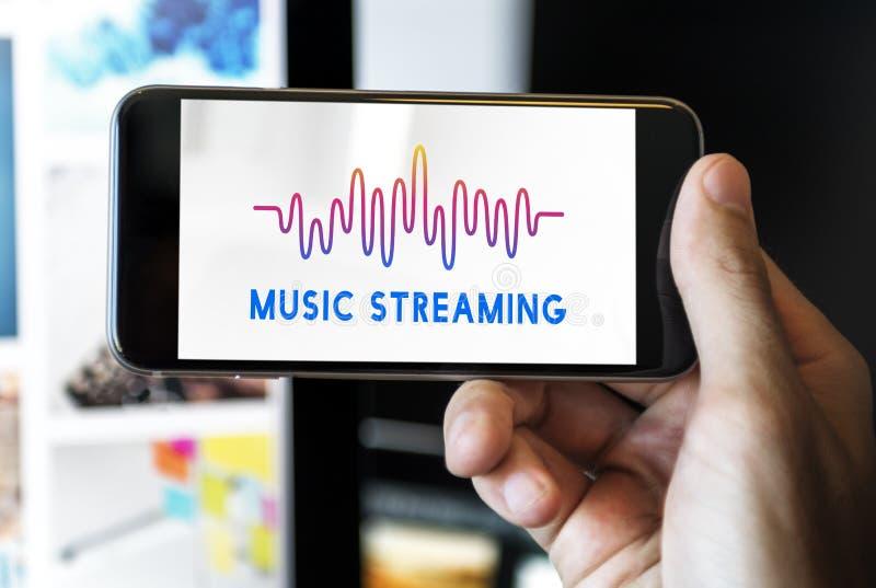Música audio da música em linha que flui o conceito do gráfico da onda foto de stock royalty free