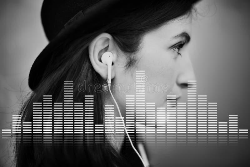 A música audio do equalizador de Digitas ajusta o conceito do gráfico da onda sadia fotografia de stock royalty free