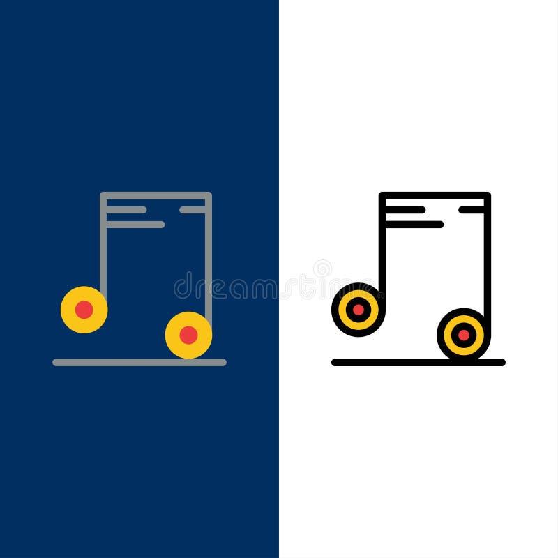 Música, audio, iconos de la escuela El plano y la línea icono llenado fijaron el fondo azul del vector libre illustration