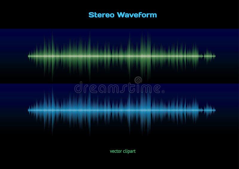 Forma de onda estérea stock de ilustración