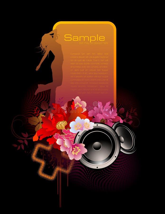 Música-bandeira floral colorida ilustração royalty free