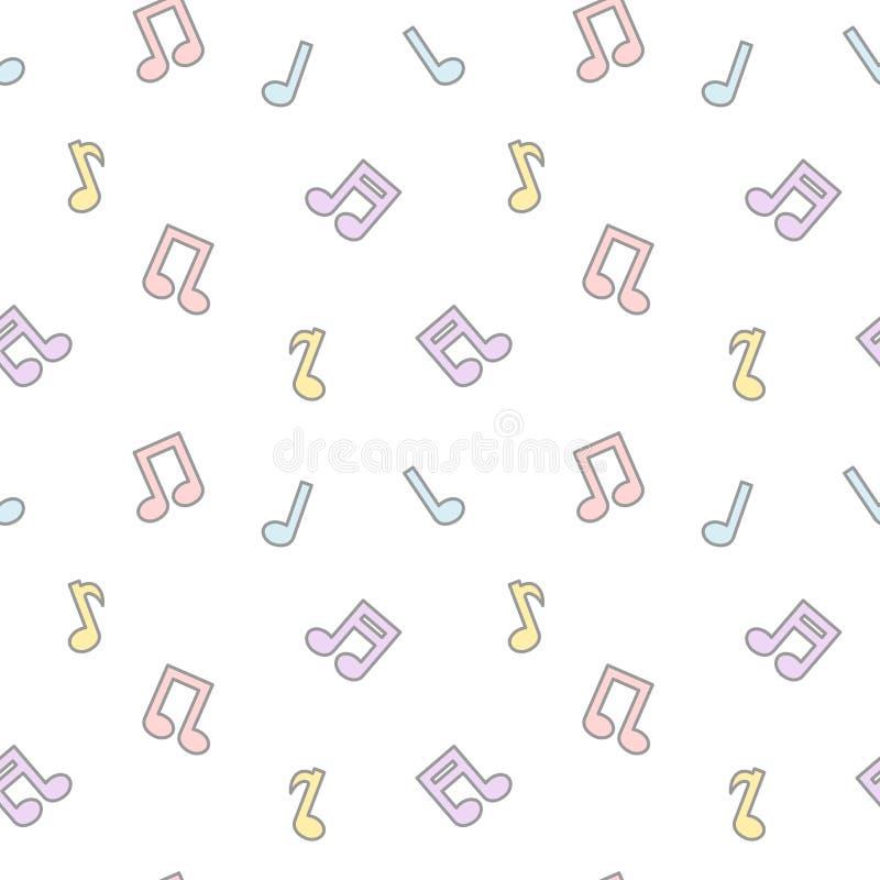 A música bonita colorida dos desenhos animados bonitos nota a ilustração sem emenda do fundo do teste padrão ilustração stock