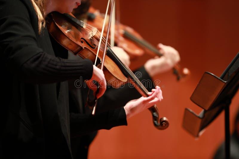 Música clássica Violinistas no concerto Amarrado, violinistCloseup do músico que joga o violino durante uma sinfonia fotografia de stock