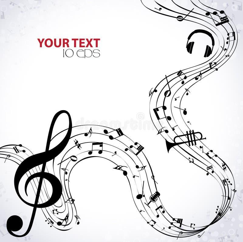 Música Clef agudo y notas para su diseño libre illustration