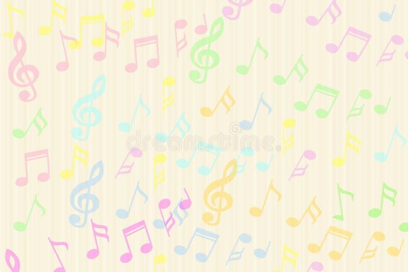 A música colorida bonita nota o fundo ilustração stock